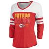 Kansas City Chiefs Red Women's Team Waves 3/4 Triblend T-Shirt