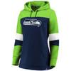 Seattle Seahawks Navy Women's Iconic Cotton Fleece Colorblock Hood