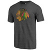 Chicago Blackhawks Charcoal Core Triblend Distressed T-Shirt