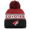 Arizona Coyotes Charcoal Women's Stripe Beanie Cuff Pom