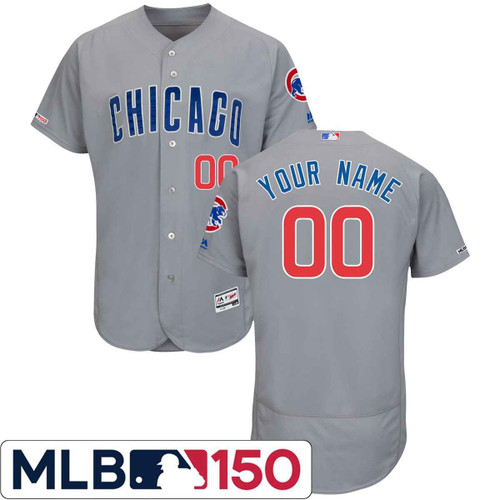 Chicago Cubs Road MLB 150th Year Anniversary Flexbase™ Authentic Collection Custom Jersey by Majestic