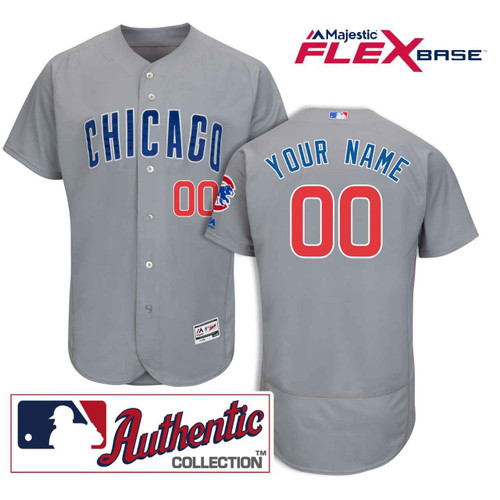Chicago Cubs Road Flexbasetm Authentic Collection Custom Jersey by Majestic at SportsWorldChicago
