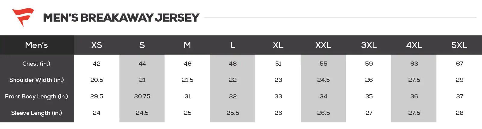 NHL Jersey Size Chart