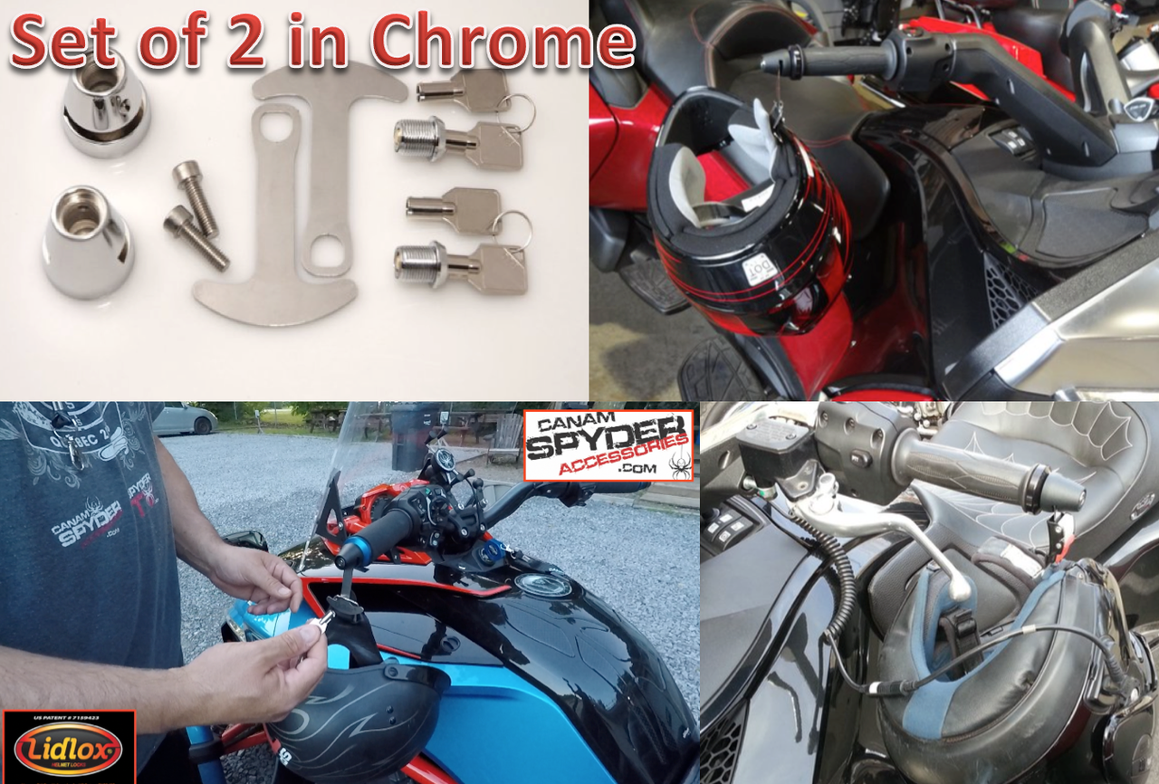 CHROME Lidlox Helmet Locks for Can Am Spyder (PAIR)