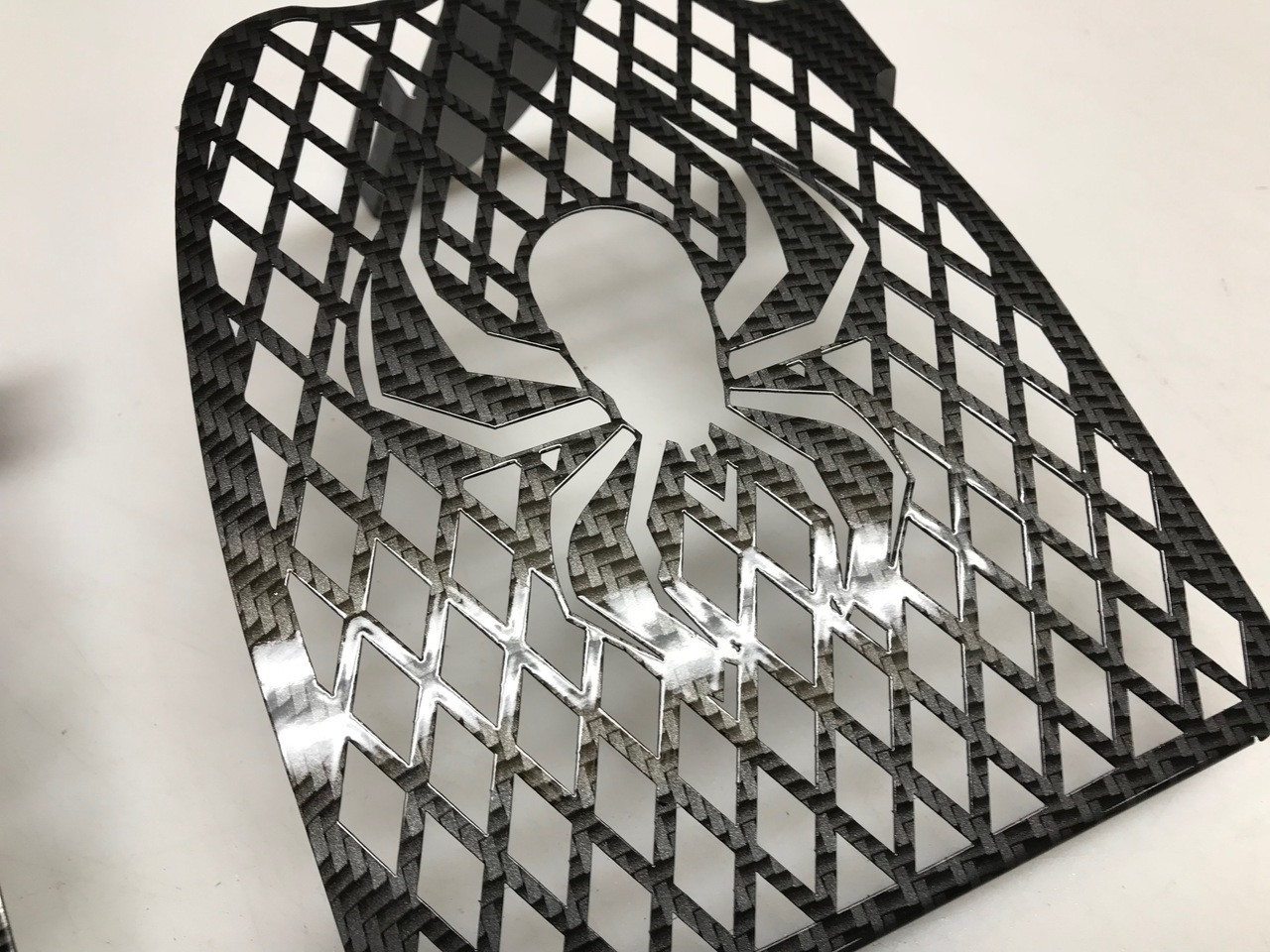 RT Lower Side Grills - Fits all years - 2 Spider Logos - Carbon Fibre Black Special Edition