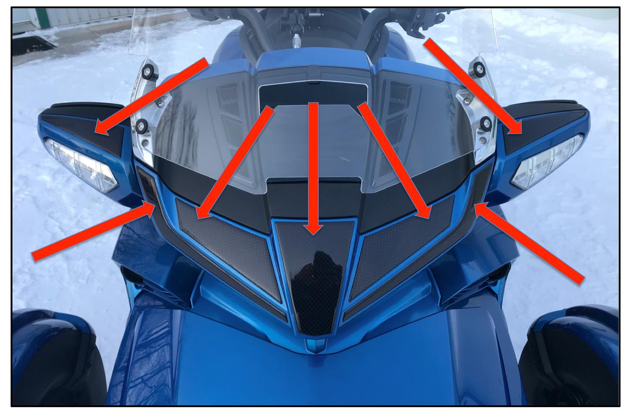 F3 Carbon Black Front Nose Combo #701/702BK - domed polyurethane (7pcs)