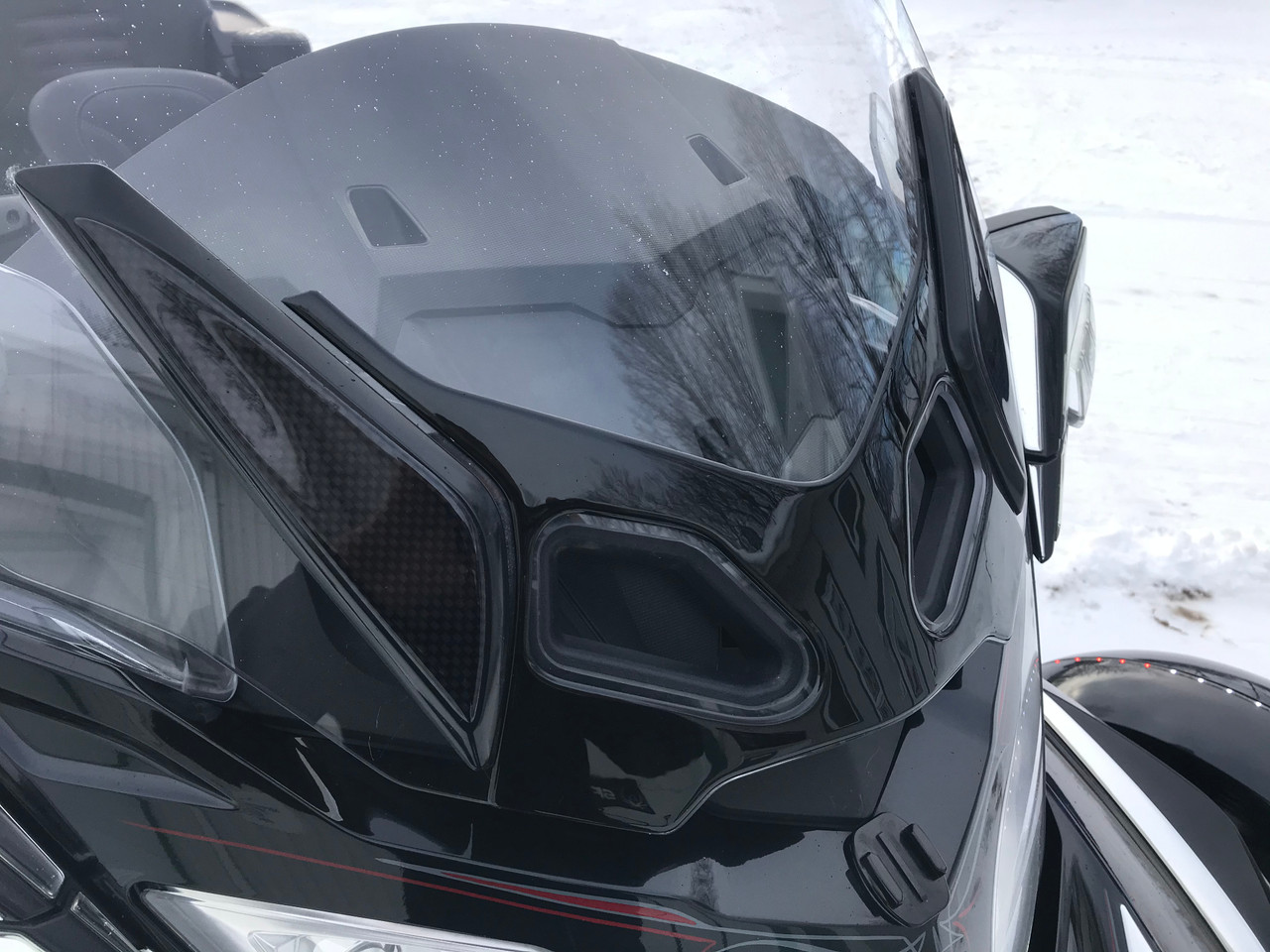 RT Series Glossy Black Polyurethane Windshield Blackout - fits BRP stock windshield