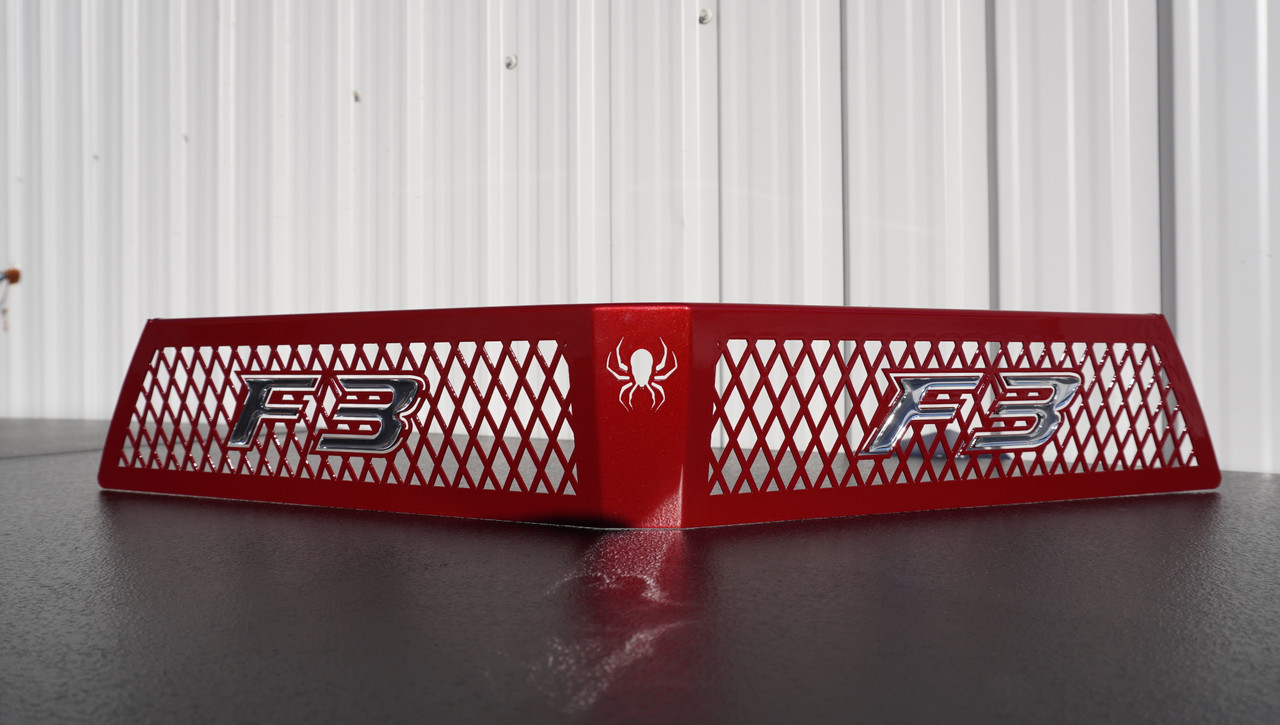 F3 upper front grill red intense with chrome F3 logo letters