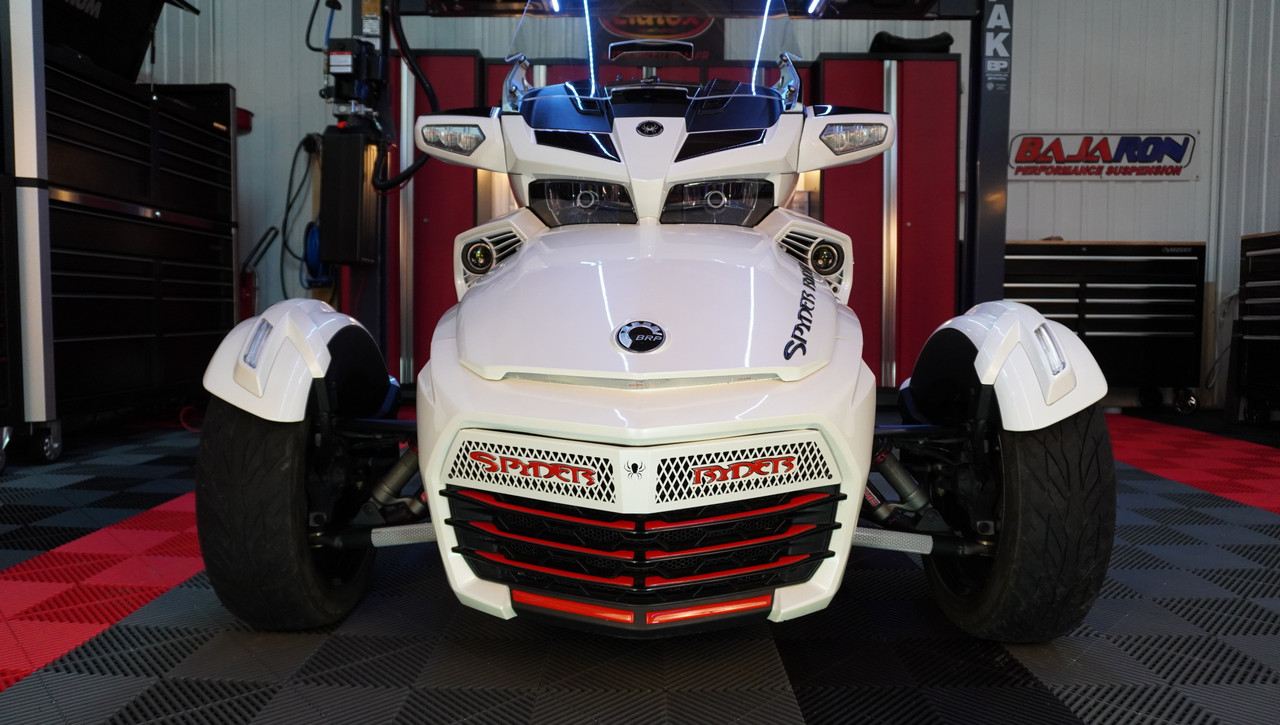 F3 upper front grill Pearl White with Spyder Ryder logo Viper Red letters and 18 piece Viper red set