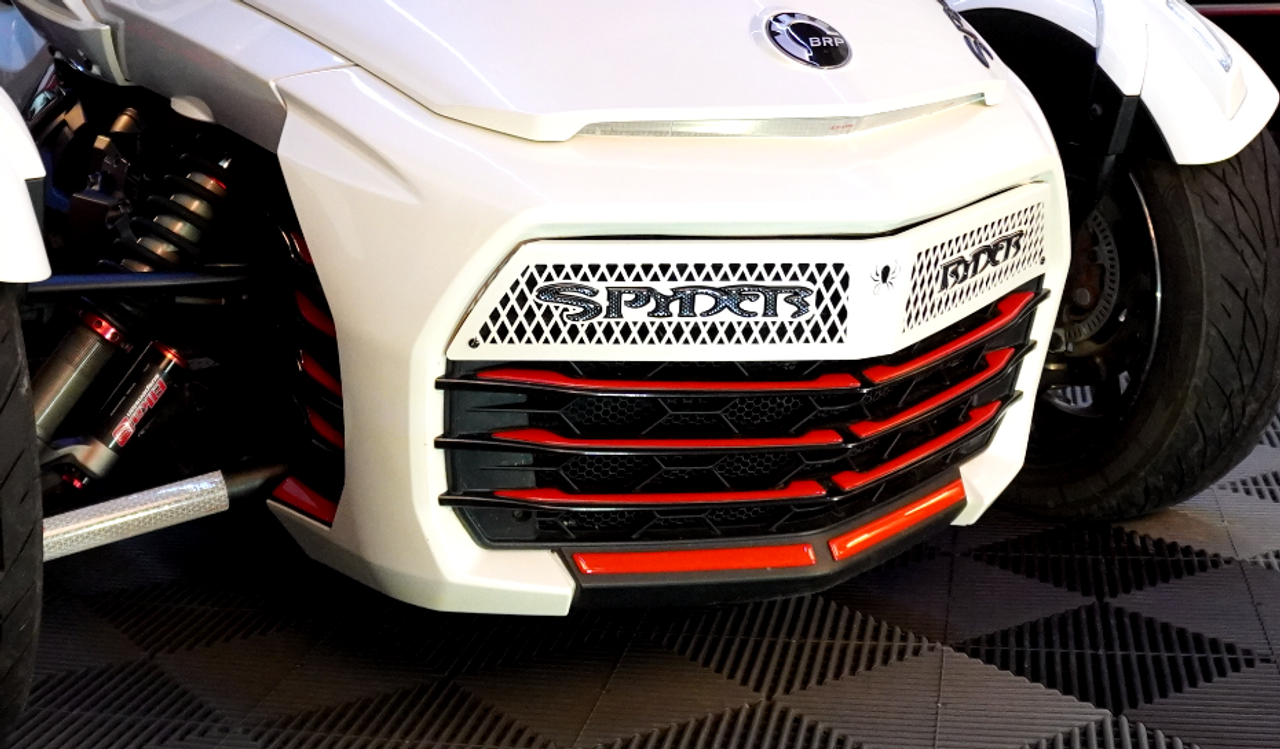 F3 upper front grill Pearl White with Spyder Ryder logo black carbon letters and 18 piece Viper red set