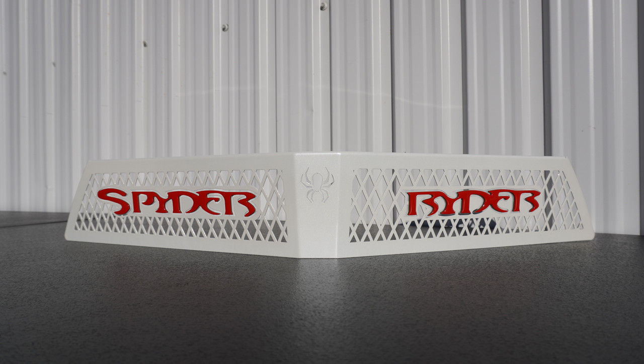 F3 upper front grill Pearl White with Spyder Ryder logo Viper Red letters