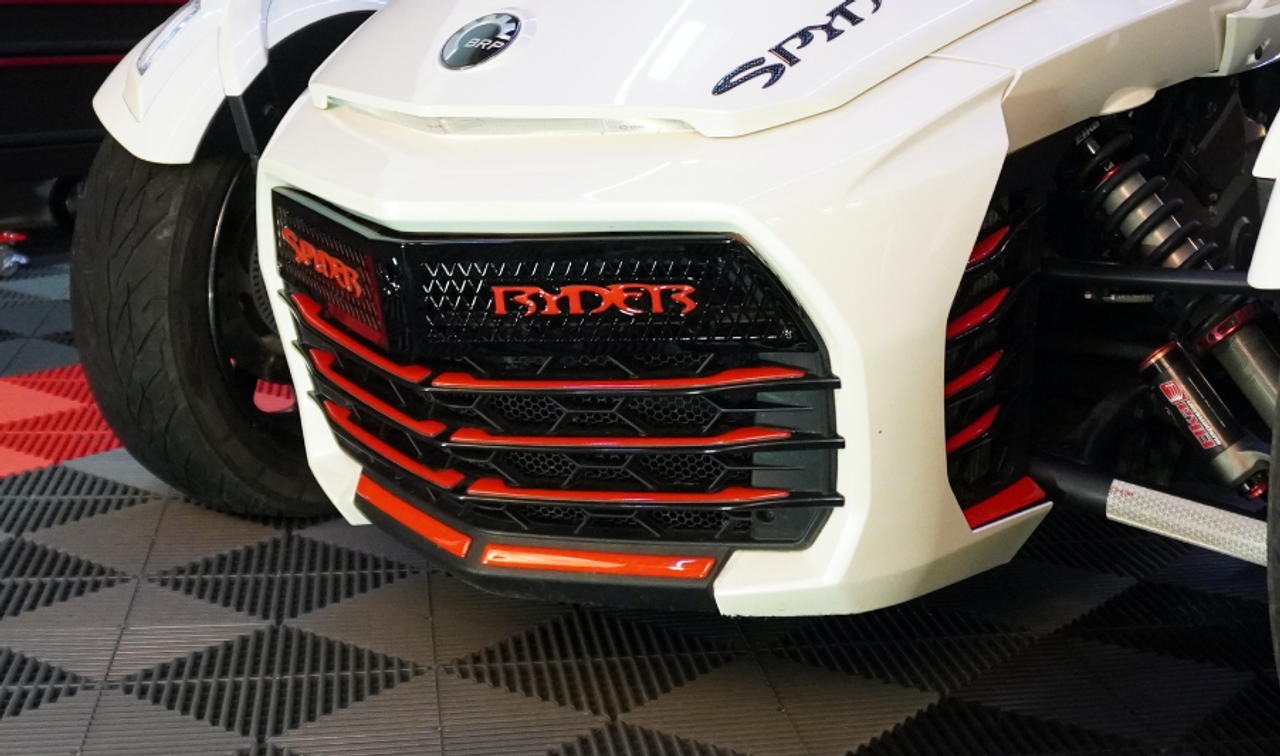 F3 upper front grill Glossy black with Spyder Ryder logo viper red letters and 18 piece Viper red set