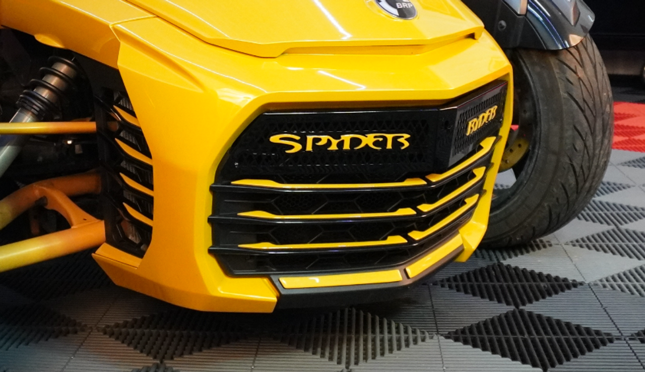 F3 upper front grill Glossy black with Spyder Ryder logo yellow circuit letters and 18 piece yellow circuit set