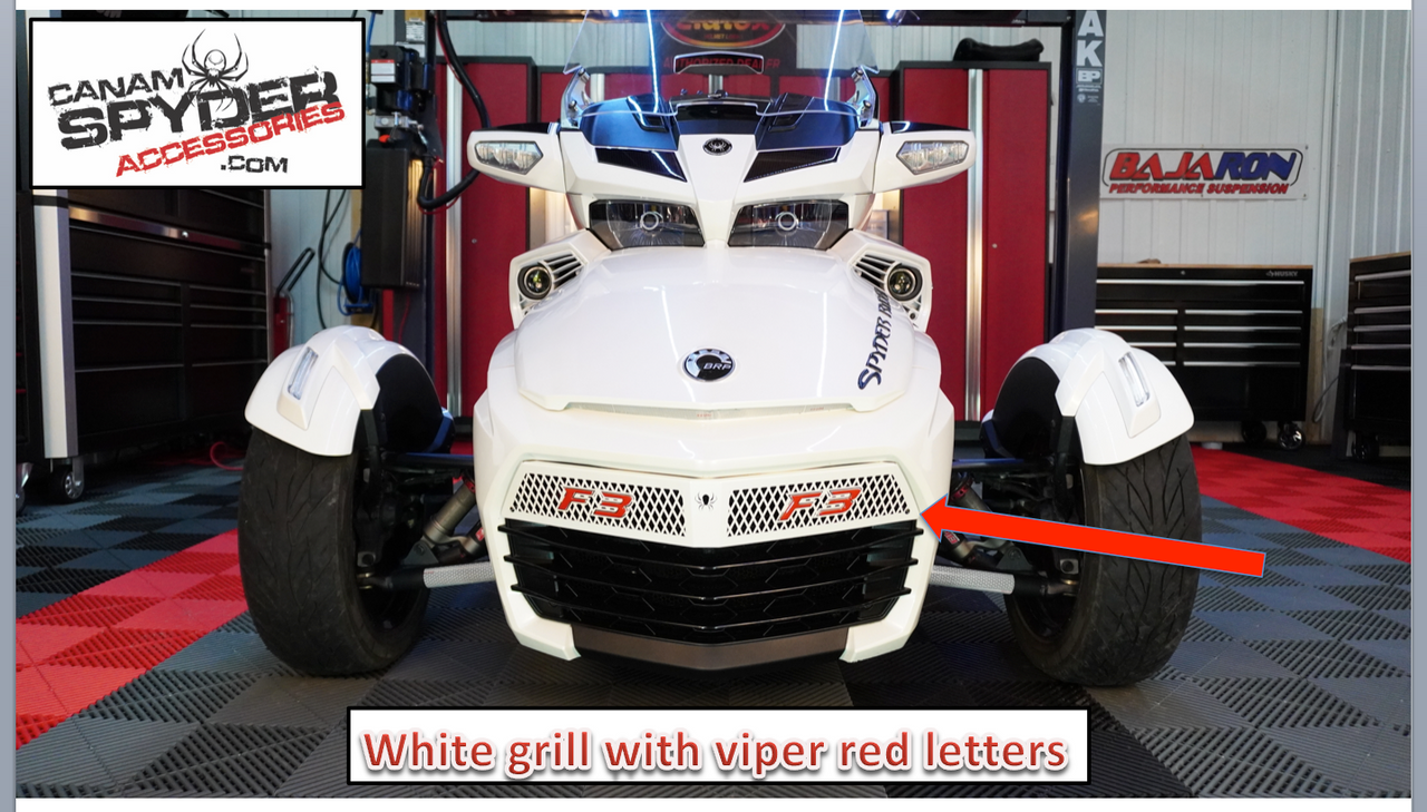 F3 White Upper front grill with F3 logo (Fits F3S-F3T-F3LTD) Not for F3 Base Model and Sports Grill