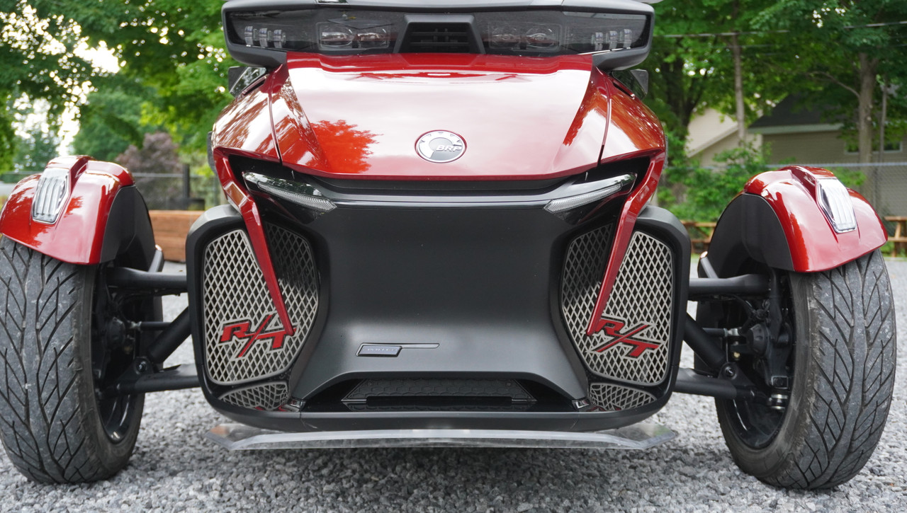 RT Front Grills - 2020 and up - 2 RT Logos - Stainless Steel with Marsala Red Letters