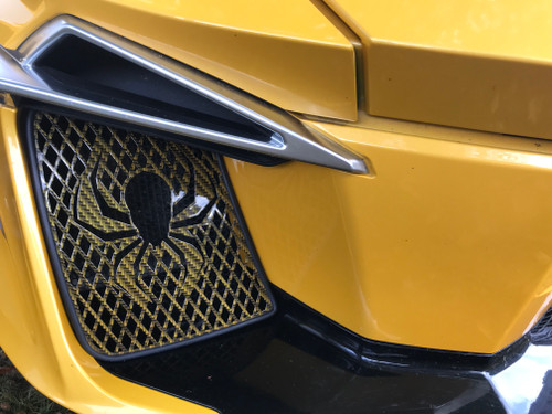RT Front Grills 2014-2019 - 2 Spider Logos - Carbon Fibre Yellow Circuit