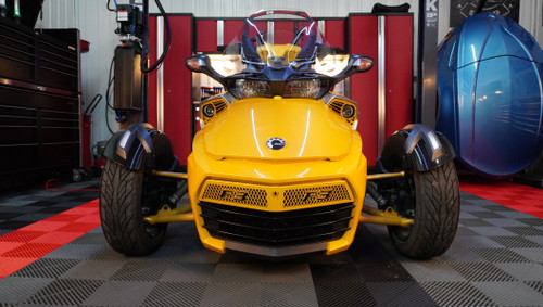 F3 upper front grill yellow circuit with black F3 logo letters