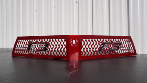 F3 upper front grill red intense with carbon black F3 logo letters
