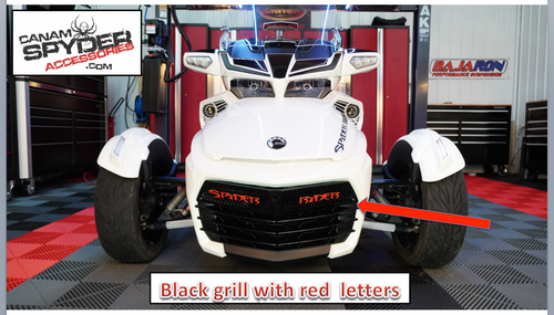 F3 upper front grill glossy black with red viper Spyder Ryder logo letters