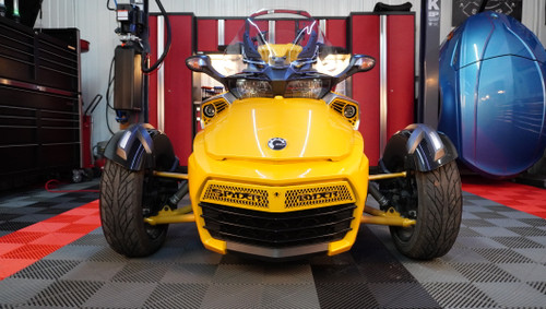F3 upper front grill yellow circuit with black Spyder Ryder logo letters