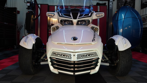 F3 upper front grill Pearl White with Spyder Ryder logo black letters and 18 piece Pearl White set