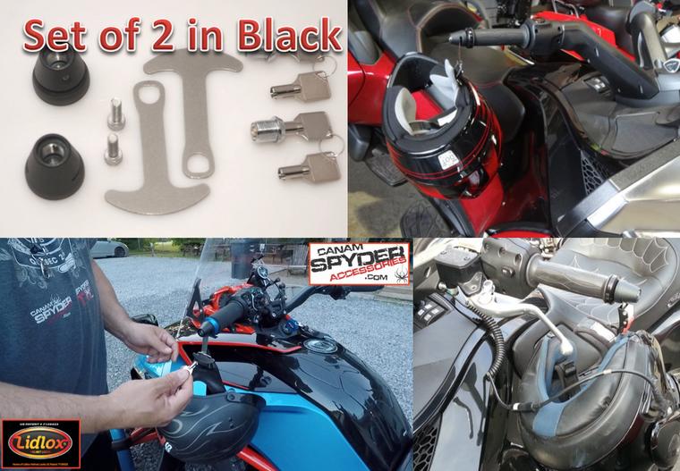 BLACK Lidlox Helmet Locks for Can Am Spyder (PAIR)