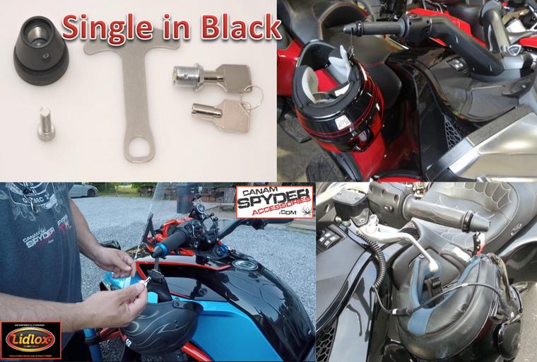 BLACK Lidlox Helmet Lock for Can Am Spyder (SINGLE)