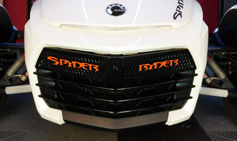 F3 upper front grill glossy black with red dragon Spyder Ryder logo letters