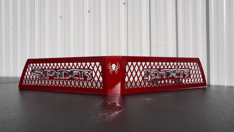 F3 upper front grill intense red with  chrome Spyder Ryder logo letters