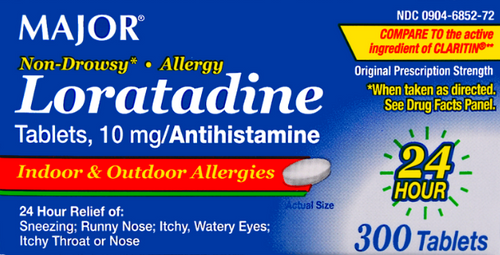 Major Loratadine 10mg- 300 Tablets (Generic Claritin)