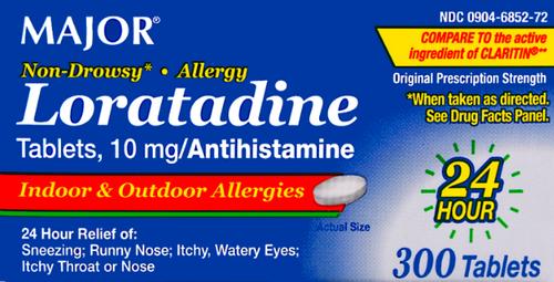 Major Loratadine 10 mg- 300 Tablets (Generic Claritin)