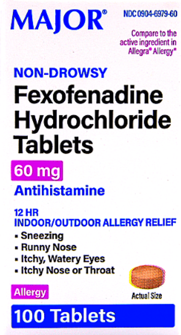 Major Fexofenadine Hydrochloride Tablets 60 mg - 100 Tablets (Generic Allergra)