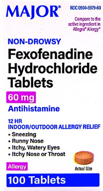Major Fexofenadine Hydrochloride Tablets 60 mg - 100 Tablets (Generic Allergra)