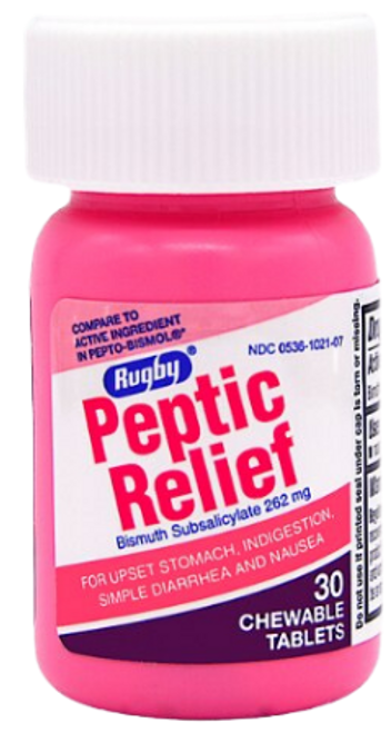 Rugby Peptic Relief 262 mg- 30 Chewable Tablets (Generic Pepto-Bismol)