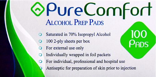 Home Aide Pure Comfort Alcohol Prep Pads - 100 Packets