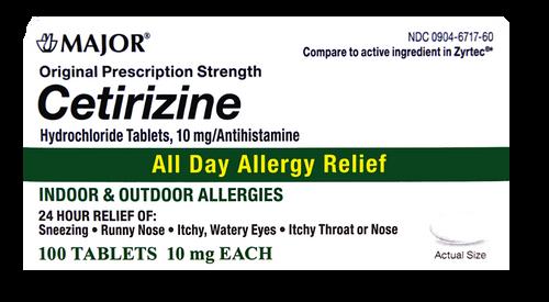 Major Cetirizine 10mg - 100 Tablets (Zyrtec)