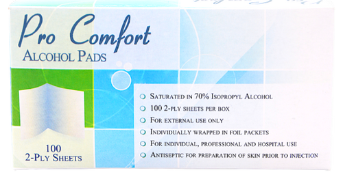 Home Aid Pro Comfort Alcohol Pads - 100 Sheets