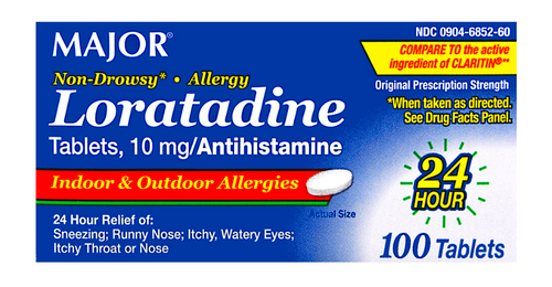 Major Loratadine 10 mg- 100 Tablets (Generic Claritin)