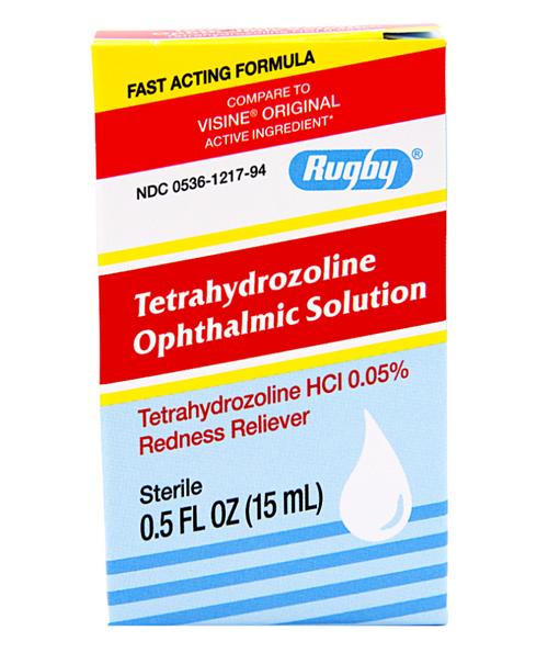 Rugby Tetrahydrozolinine Opthalmic Solution Eye Redness Reliever - 0.5 oz (Visine Original)
