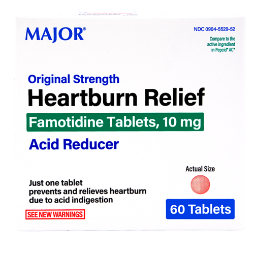 Major Heartburn Relief Famotidine 10mg - 60 Tablets (Pepcid AC)