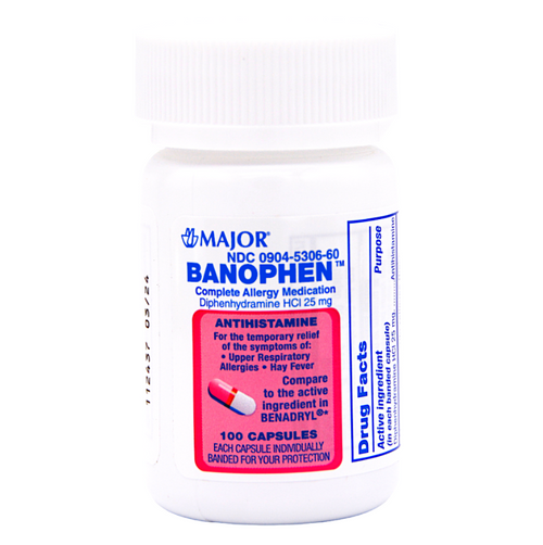 Major Diphenhydramine 25mg - 100 Capsules (Benadryl)