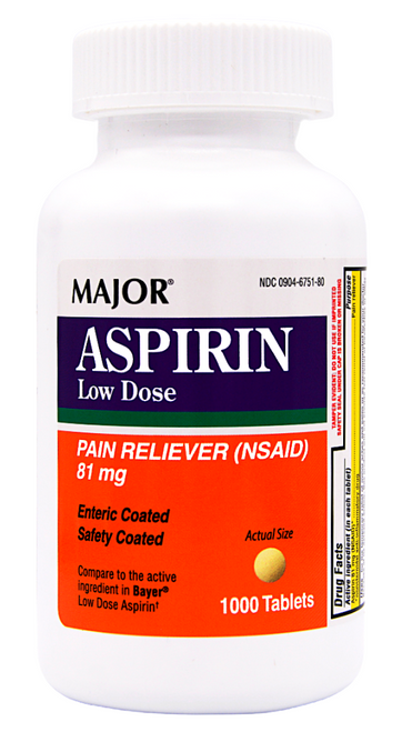 Major Aspirin Low Dose 81 mg - 1000 Tablets (Bayer Low Dose Aspirin)
