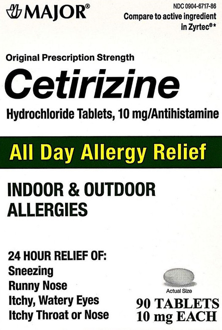 Major Cetirizine 10mg - 90 Tablets (Generic Zyrtec)