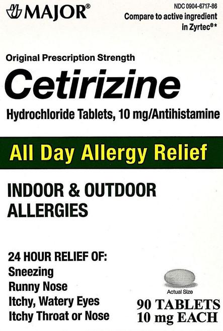 Major Cetirizine 10mg - 90 Tablets (Generic Zyrtec)
