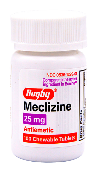 Rugby Meclizine 25 mg - 100 Chewable Tablets (Bonine)