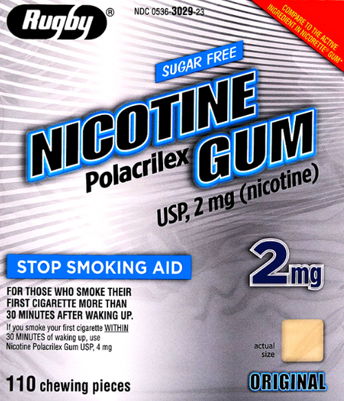 Rugby Sugar Free Nicotine 2mg Polacrilex Gum, Original Flavor- 110 Pieces