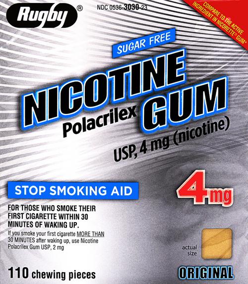 Rugby Sugar Free Nicotine Polacrilex Gum, Original Flavor 4mg