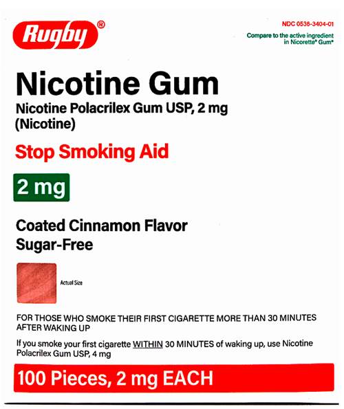 Rugby Sugar Free Nicotine Polacrilex Gum - Cinnamon Flavor 2 mg NEW