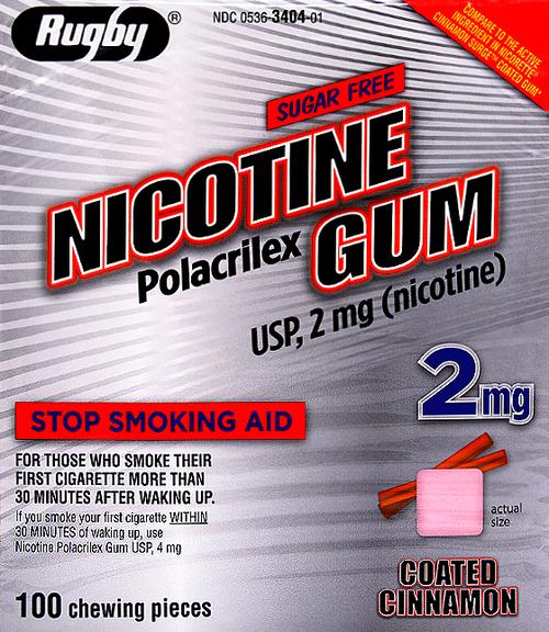 Rugby Sugar Free Nicotine Polacrilex Gum, Cinnamon Flavor 2mg