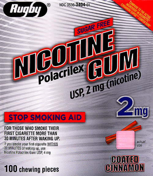 Rugby Sugar Free Nicotine Polacrilex Gum - Cinnamon Flavor 2 mg